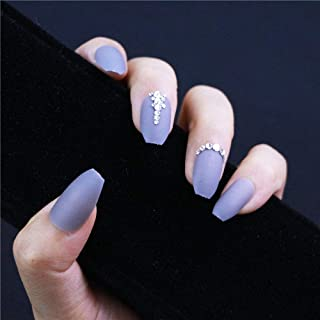 I.ME 24 PCS&12 Sizes Matt Grey Color 3D Press on False Nails Custom Shimmer Shiny Rhinestones Decoration Pointed Coffin Shape Ballerina Nails (TJP820-Y5-B1)