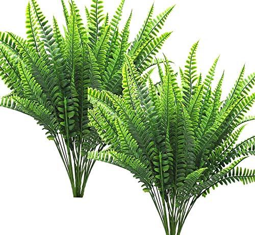 Ollain Artificial Plants 6Pcs Boston Fern Grass Fake Green Bushes Artificial Shrubs Bush Faux Indoor Outdoor UV Resistant Greenery Indoor Outside for Home Garden Porch Window Box Décor