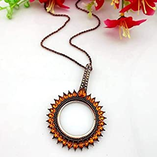 European American Fashion Long Retro Necklace Pendant Magnifier Flashing All Match Female Sweater Chain Magnifying Glass,I...