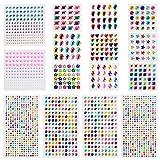 LATTCURE Glitzersteine Selbstklebend, 1800 Stück Strasssteine Selbstklebend, Selbstklebende Schmucksteine für Kinder Handwerke, Fotorahmen, Grußkarten, 15 Blätter