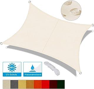 OKAWADACH Toldo Vela de Sombra Rectangular 2 x 4m, protección Rayos UV Impermeable para Patio, Exteriores, Jardín, Color Crema