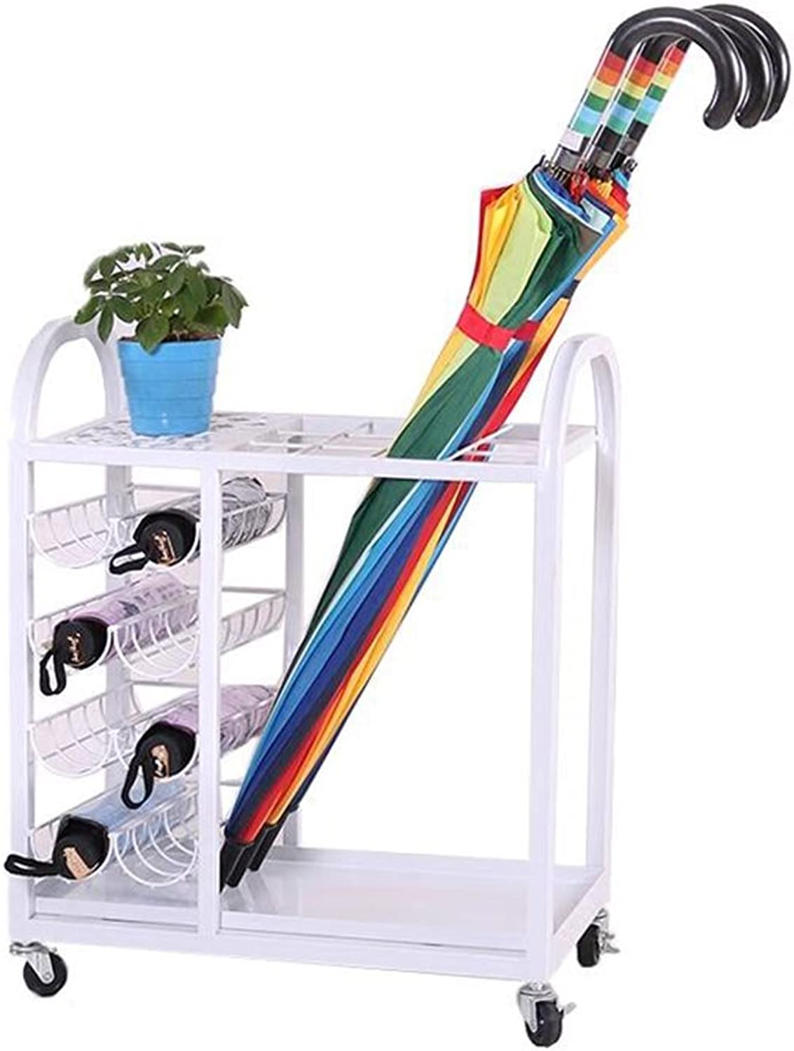 Umbrella Stand Household Rain Gear Storage Rack Hotel Lobby Office Floor Stand with Pulley White A_
