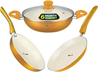 iBELL Premium Non-Stick Ceramic Cookware Set Combo, FTK2426,(Fry Pan + Tawa + Wok + Glass Lid), Induction Base
