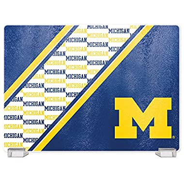 NCAA Michigan Wolverines Tempered Glass Cutting Board with Display Stand