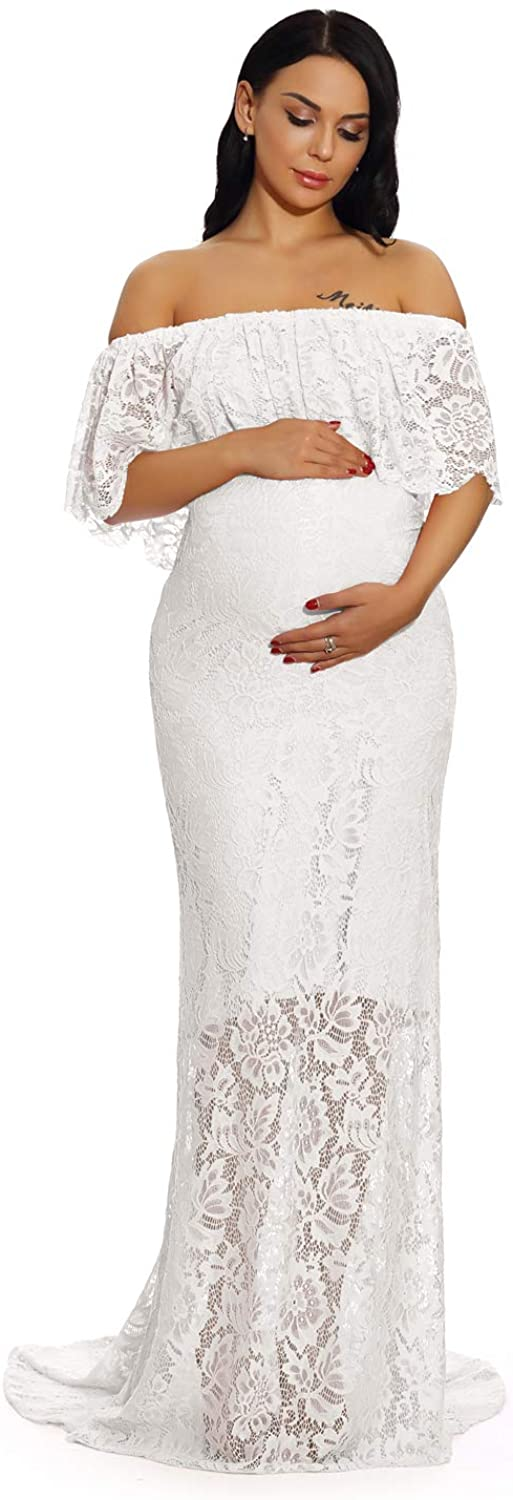 ZIUMUDY Women's Off Shoulder Ruffles Lace Maternity Gown Maxi Photography Baby Shower Dress