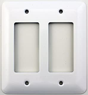 Mulberry Princess Style White Two Gang GFI/Rocker Opening Switch Plate (1)