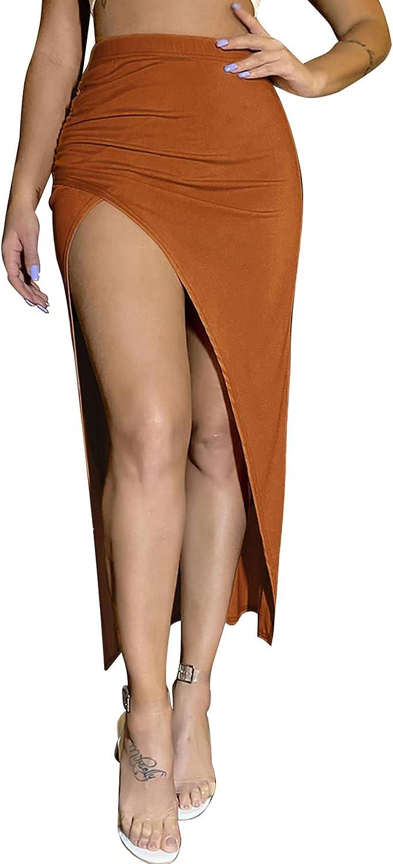 LYANER Women's Split Slit Wrap Asymmetrical Stretchy Rib Knit Pencil Long Skirt