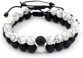 VBTY Beaded Stretch Bracelet, Stone Beads,Adjustable 2Pcs/Lot Beaded Bracelets Bangles Set Natural Lava,Howlite Stone White Black Braiding Macrame Bracelet for Women Men