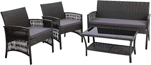 Gardeon 4pc Outdoor Furniture Rattan Chair and Table Garden Patio Yard-Grey