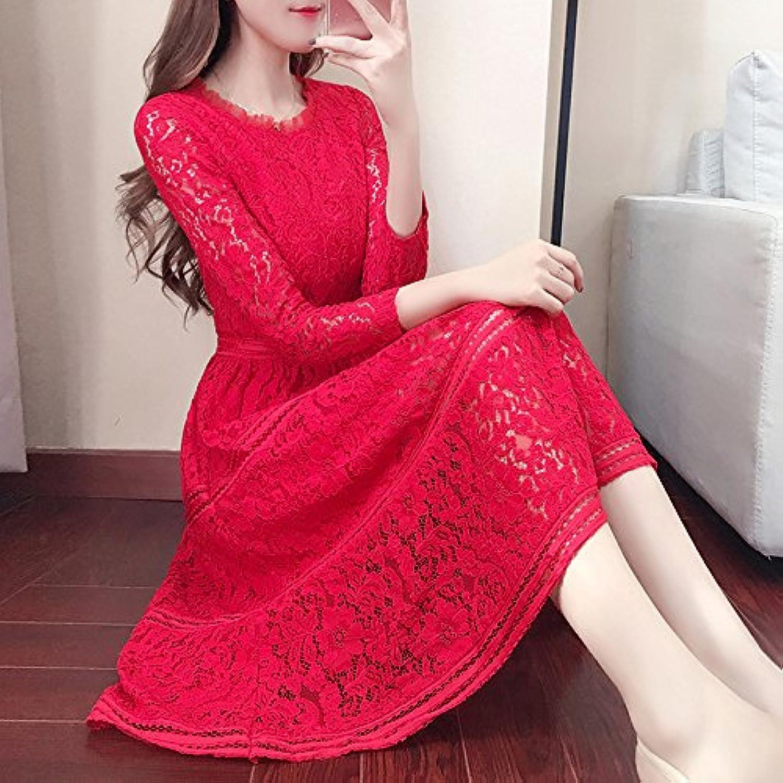 ZHUDJ Spring Dress Dress Dress Lace Temperament In The Long A Hollow Skirt