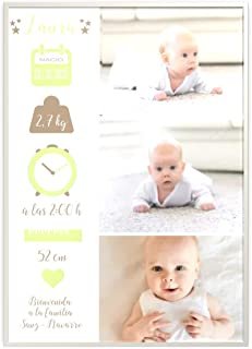 Regalo para bebé. Cuadro bebe personalizado. Datos de nacimiento. Bautizo Cesta de bebé. Natalicio. Elige colores y dimens...