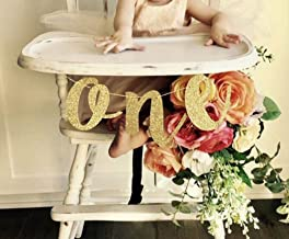 Beaumode Glitter Gold 1st Birthday Highchair Banner for One High Chair Sign Baby First Birthday One Photo Prop Party Decor...