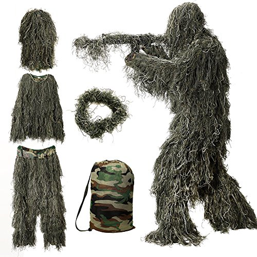 MOPHOTO 5 in 1 Ghillie Suit, 3D Camouflage Hunting Apparel Including Jacket, Pants, Hood, Rifle Wrap, Carry Bag Suitable for Unisex Adults/Kids/Youth (M/L)