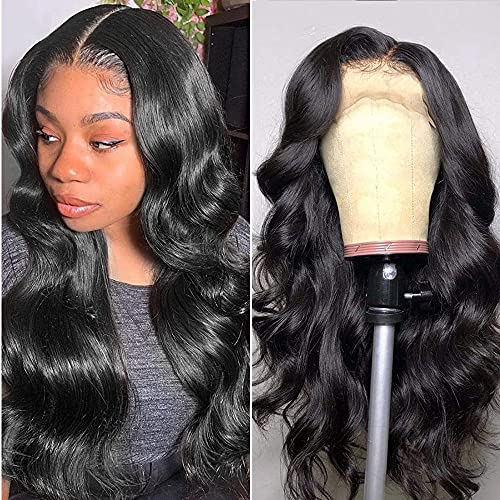 Ainmeys Hair 20inch Brazilian body wave Lace Front wigs human hair 13x4 HD Transparent lace wigs 9A 150% Density Unprocessed Virgin human hair wigs for black women Pre Plucked Natural Black