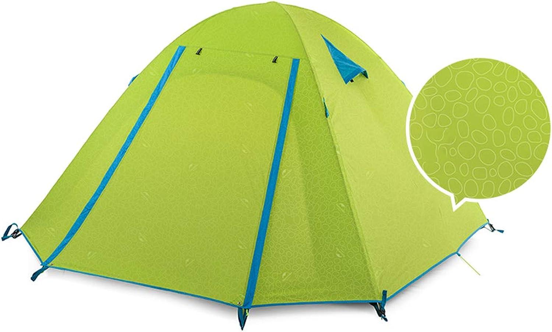 AX-outdoor products Zelten des Zeltens des Zeltes Vier, tragbares Zelt des Zeltes im Freien doppeltes wasserdichtes Polyester-Tuchzelt-grüne Farbe