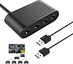 MoKo Game Cube Controller Adapter for Switch, 3 in 1 GC Controller Adapter with 4 Ports for Nintendo Switch, WiiU, PC - Black