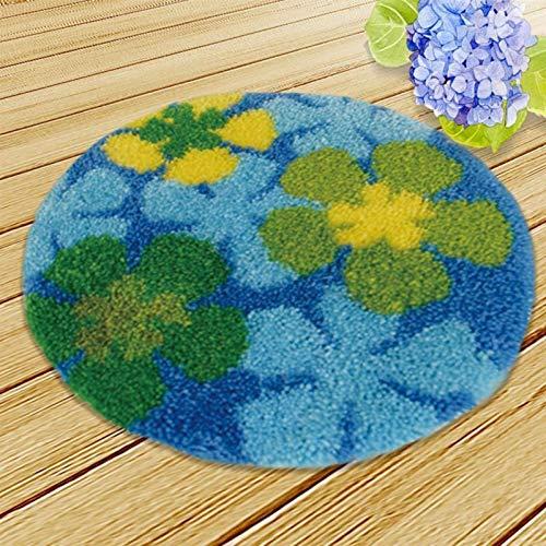 LOMAX Handmade DIY Häkelgarn Kits, Verriegelungshaken-Teppich-Kits, Hand Knüpfpackung, Unfinished Häkeln Teppich Garn Kissen Stickerei Teppich Set Geschenk (Color : Flowers, Size : 38 38cm)