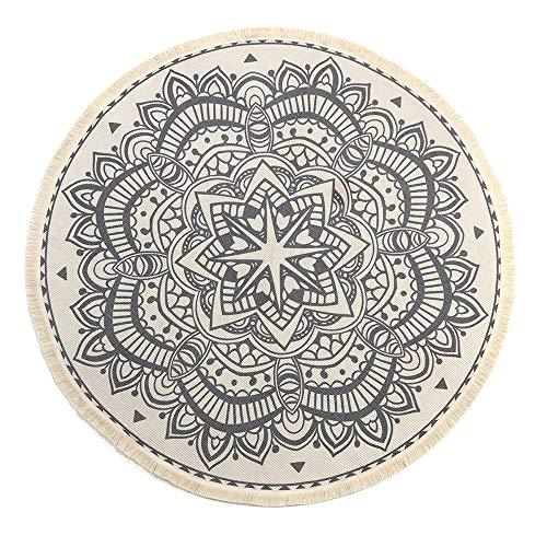 LEEVAN Round Area Rug,Hand Woven Cream Chic Bohemian Mandala Print Tassels Door Mat,Indoor Floor Area Mat Compatible Bedroom,Living Room,Children Playroom,Black, 4' Diameter