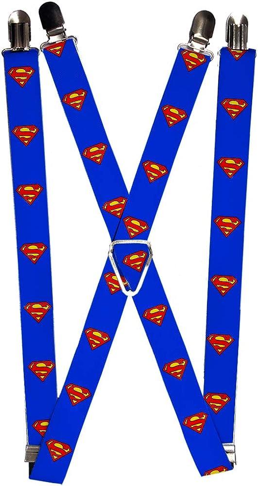 Buckle-Down Men's Suspenders-Superman Shield Blue