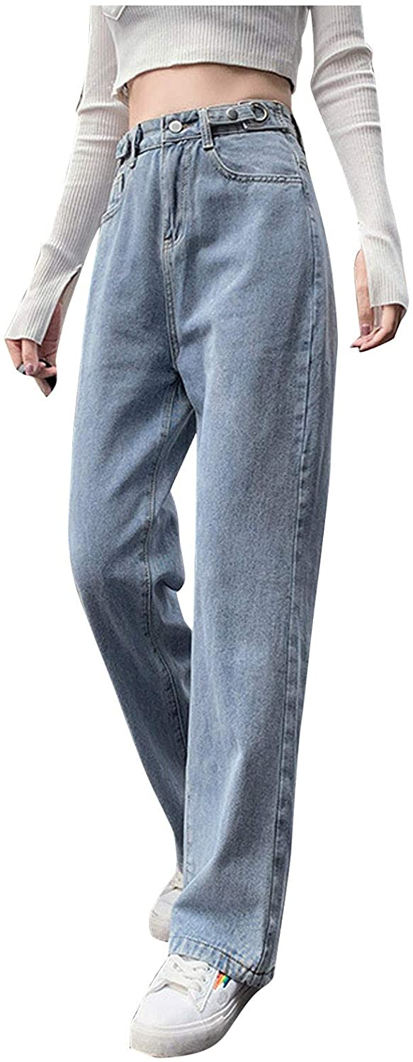 MASZONE Womens Fashion Printed Jeans Relaxed Fit High Waisted Casual Jeans Baggy Straight Leg Denim Pants Trousers