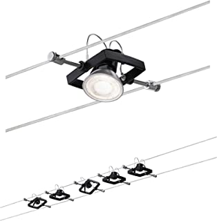 Paulmann 94290 Seilsytem Mac II carré max. 5x10watts suspendue Noir mat lampe sur câble Métal, plastique éclairage GU5,3,...