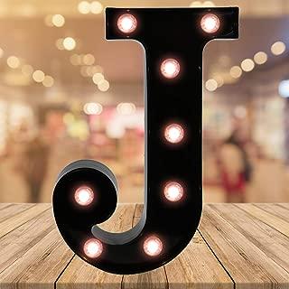 Oycbuzo Light up Letters LED Letter Black Alphabet Letter Night Lights for Home Bar Festival Birthday Party Wedding Decorative (Black Letter J)