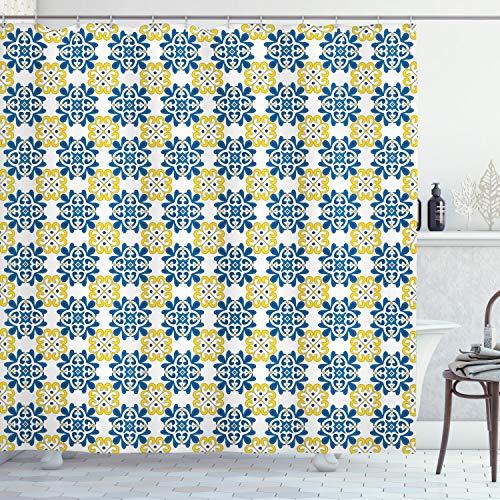 ABAKUHAUS Spanisch Duschvorhang, Portugiesische Mosaikfliese, mit 12 Ringe Set Wasserdicht Stielvoll Modern Farbfest & Schimmel Resistent, 175x220 cm, Kobaltblau Gelb Weiß