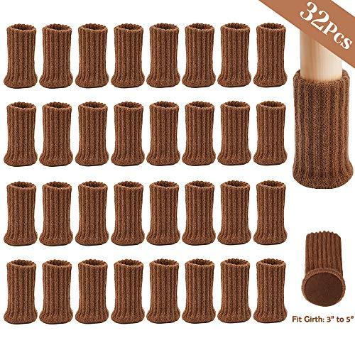 AUHOTA 32 Stück Stuhlbeinsocke Möbel Socken mit Fühlte Pads, Elastisch Gestrickt Möbel Booties Double Layered, rutschfest Fußboden Schutz Stuhl Protektoren- Vermeiden Sie Kratzer &Geräusche(Braun)