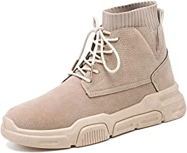 Xujw-shoes store, 2019 Mens New Lace-up Flats Ankle Boots for Men Work Boot Lace Up PU Leather Patchwork Platform Round Toe Rubber Sole Anti-Skid Elastic Socks Collar Solid Color Soft Durable Beige