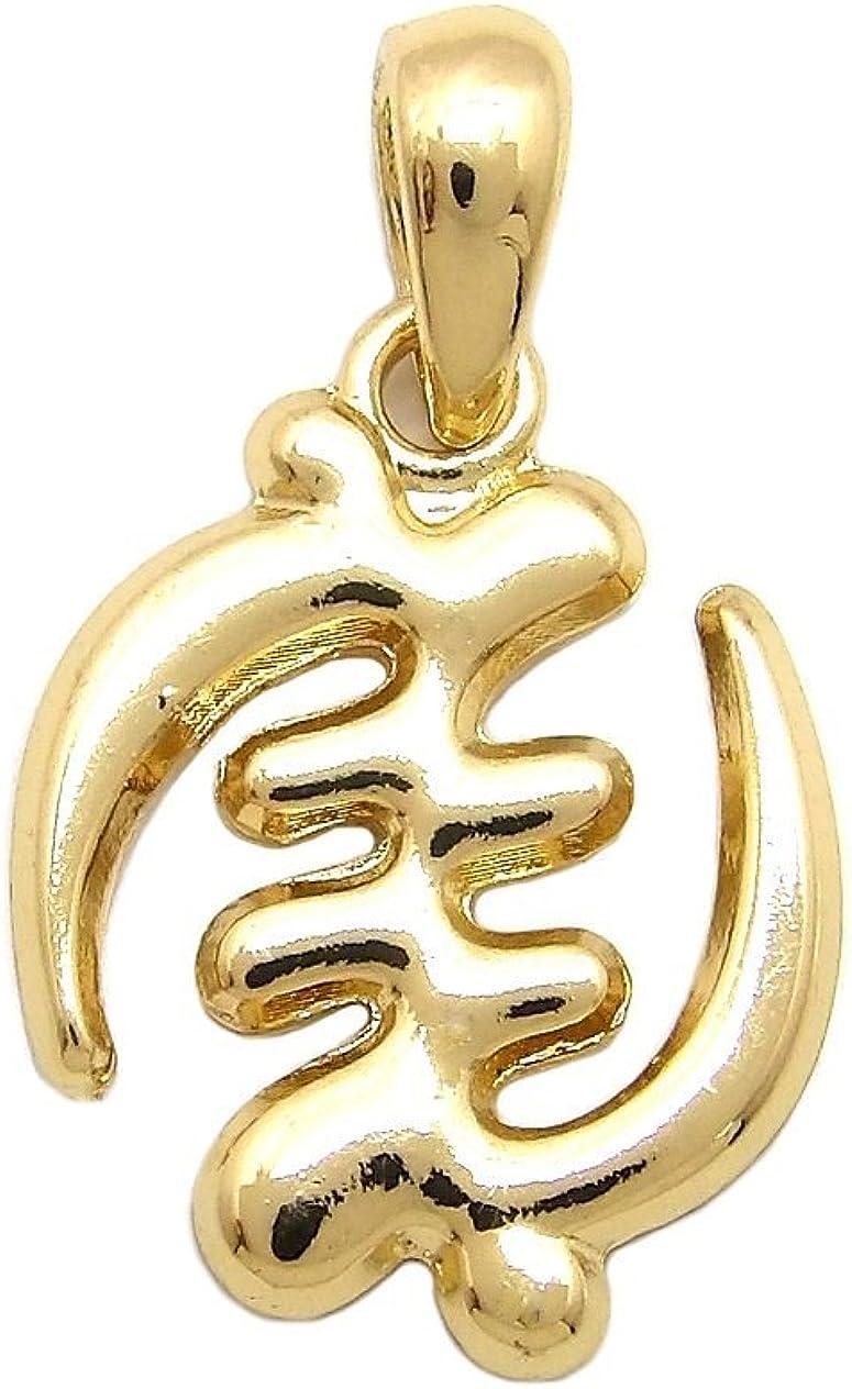 NYFASHION101 Polished Adinkra Symbol Gye Nyame Micro Pendant for Necklace in Gold-Tone