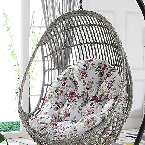 SKRCOOL Hanging Basket Egg Hammock Chair Pad,Wicker Rattan Rocking Chair Cushion Swing Hanging Basket Seat Cushion (Cushion Only) Floral 120x86cm(47x34inch)