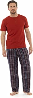 Tom Franks Mens Jersey Cotton Check Pyjama Lounge Wear - Red - XL
