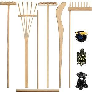 9 Pieces Mini Zen Garden Sandbox Zen Garden Rake Tools Desktop Bamboo Zen Garden Kit Mini Zen Garden Tools Accessories with Figurines for Parents for Mediation Table Decor