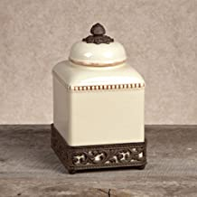 GG Collection Small Cream Ceramic Canister with Metal Base