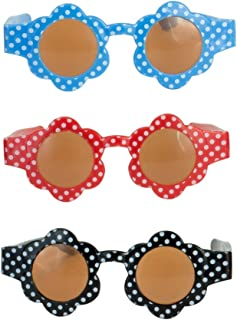 Sophia's Doll Sunglasses Pack of 3, Fits 18 Inch Girl Dolls or 15 Inch Baby Dolls   Polka Dot Flower Sunglasses in Blue, Red and Black