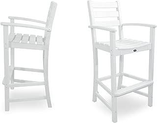 Trex Outdoor Furniture TXS120-1-CW Monterey Bay 2-Piece Bar Chair Set, Classic White