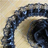 10 Yard 2-Layer Pleated Organza Lace Edge Gathered Mesh Trim Ribbon 2' Width Vintage Edging Trimmings Fabric Embroidered Applique Sewing Craft Wedding Dress DIY Clothes Embellishment (Black)