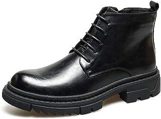CHENDX Shoes, Retro Ankle Boots for Men Combat Non-Slip Boots Lace up Microfiber Leather Side Zipper Burnished Style Platform Round Toe Stitching (Color : Black, Size : 38 EU)