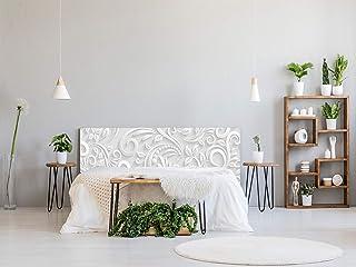 Cabecero Cama PVC Estampado Blanco 135x60cm | Disponible en Varias Medidas | Cabecero Ligero, Elegante, Resistente y Económico
