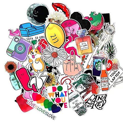 Simpatici adesivi per bottiglie d'acqua, confezione da 50 adesivi moda estetici impermeabili in vinile per adolescenti, bambini, ragazze e ragazzi, skateboard, valigia, snowboard, chitarra