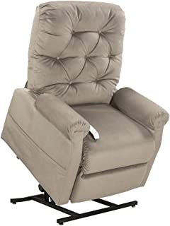Mega Motion Lift Chair Easy Comfort Recliner LC-200 3 Position Rising Electric Power Chaise Lounger - Fawn Tan Color Fabric