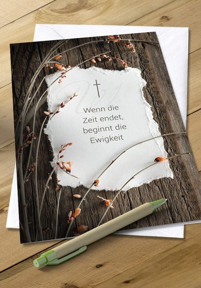 Trauerkarte Beileidskarte Motiv: Herzliches Beileid Anteilnahme Karte Klappkarte mit Umschlag im Format DIN B6 176 x 125 mm