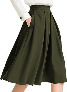 4a3a871cc058 Yige Women's High Waist Flared Skirt Pleated Midi Skirt with Pocket