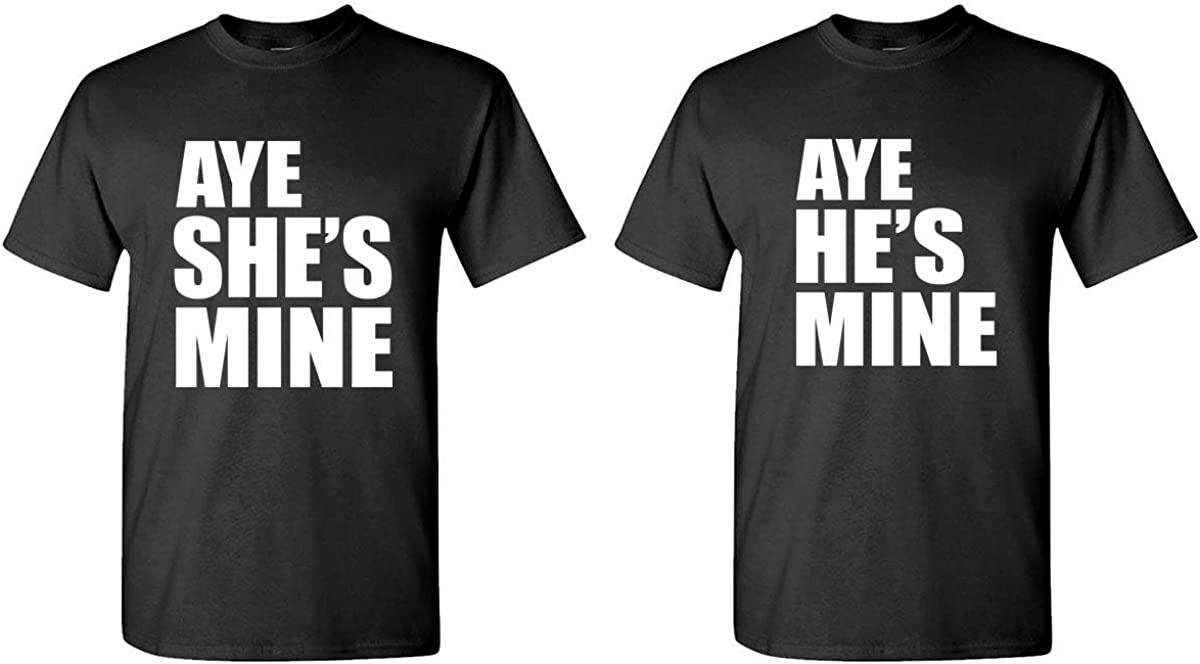 Aye He's & She's Mine - Couples Two T-Shirt Combo, XL Left, XL Right, Black