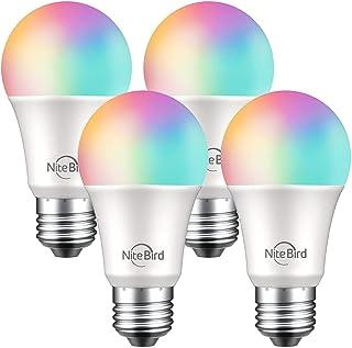 NiteBird Smart Light Bulbs Works with Alexa Echo and Google Home, WiFi Dimmable Color Changing LED Lights Bulbs, A19 E26 8...