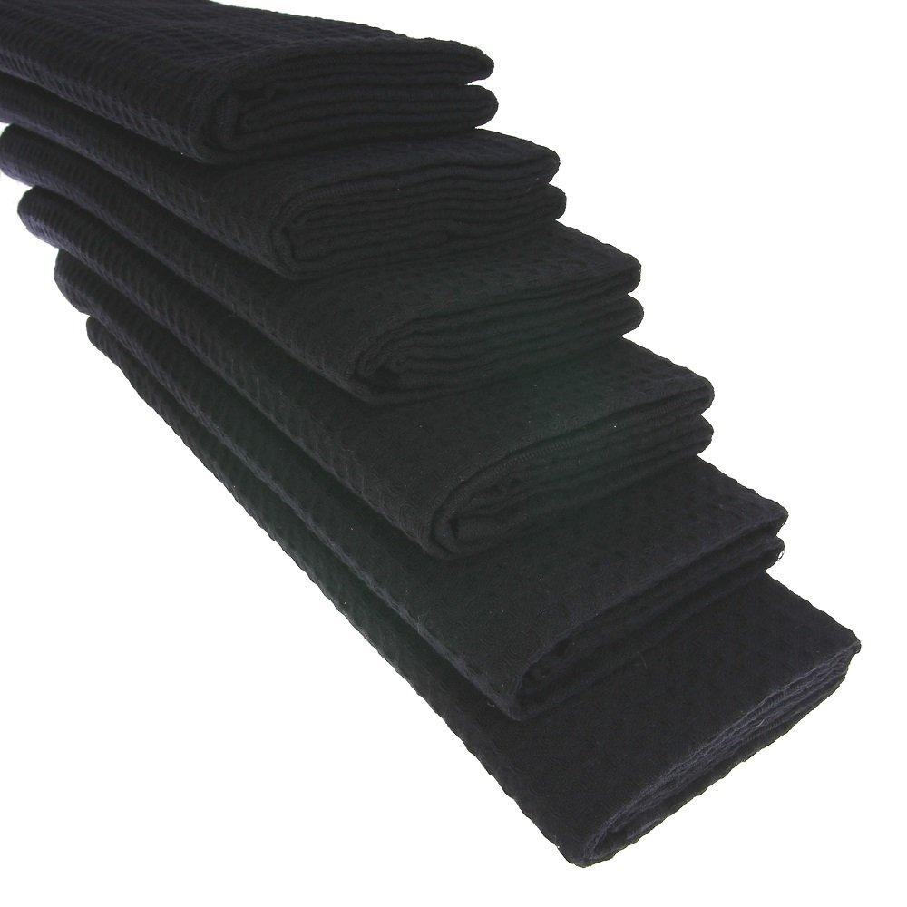 6 x – Trapo de algodón Suela de piqué en negro paños de cocina Paño agarradores: Amazon.es: Hogar