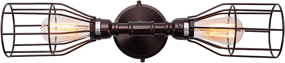 Industrial Oil Rubbed Bronze Wall Sconce Lighting, Antique Semi Cage Iron Wall Lamp Decor Light Fixture for Bathroom, Living Room and More