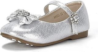 ANGEL-22 Mary Jane Front Bow Heart Rhinestone Buckle Ballerina Flat