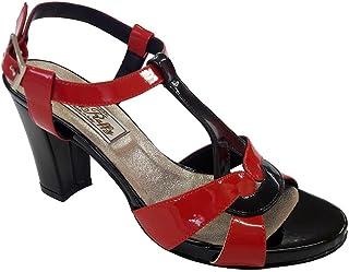 Lady Raffy 806 Sandalo in Vernice Nera e Rosso