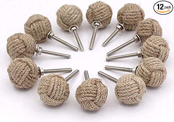 Details about  /Nautical Maritime Jute Rope Door Knob Handle Drawer Pulls Home Set of 4